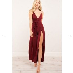 Open leg wrap jumpsuit